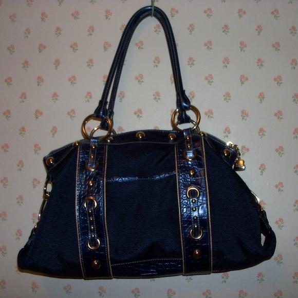 Kathy Van Zeeland Handbags - Navy Cotton/Poly Twill Satchel